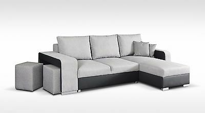 Korfu Ecke Eckgarnitur Webstoff Hocker Grau Anthrazit Couch Sofa Grau