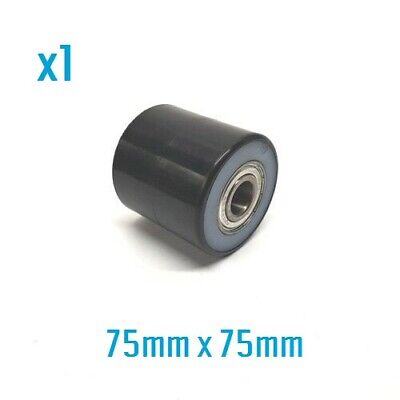 D75 x W75mm Black PU with White Nylon Load Roller