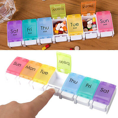 7 Day Pill Box Case Spring Assisted Weekly Tablet Organizer Medicine Dispenser