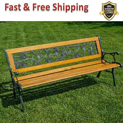 Patio Park Garden Bench Porch Path Chair Outdoor Deck Cast Iron & Hardwood New