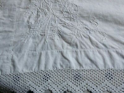 "Antique Edwardian White Irish Fine Linen Tablecloth Hand Crocheted Lace 35"" x35"""