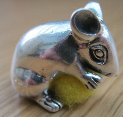 A Sweet English Hallmarked Solid Sterling Silver Rat Eating Cheese Pin Cushion