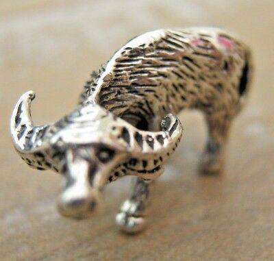 Collectable Antique Style English Hallmarked Sterling Silver Miniature Buffalo
