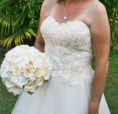 Wedding dress, size 10, strapless ivory & champagne guipure lace