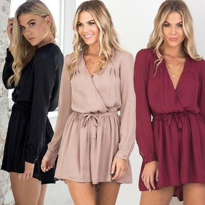 Womens Casual Summer Long Sleeve Loose Jumpsuits V-Neck Siamese Trousers Dress