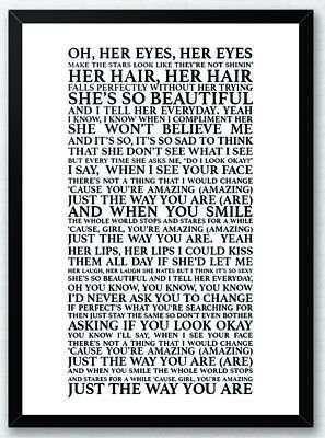 Bruno Mars Just The Way You Are Music Love Song Lyric Art Print
