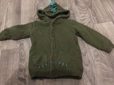Marks And Spencers M&s Khaki Green Boys Dinosaur Chunky Knit Cardigan 18-24