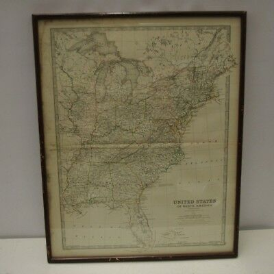 Vintage Framed United States Of America Map Printed By William Blackwood & Sons
