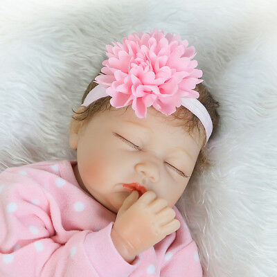 Full Body Silicone Reborn Dolls Lifelike Baby Girl Newborn Doll Gifts 55cm F9E5M