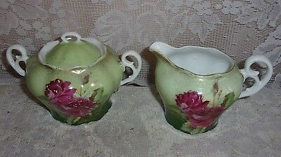 Antique Germany Hand Decorated Pink Floral Porcelain Creamer And Sugar
