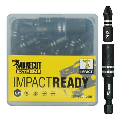 20 x SabreCut PH2 Impact Driver Bits Set Phillips With Hex Bit Holder and Box
