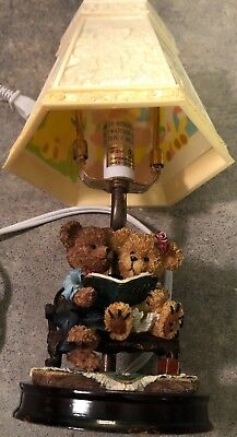 """Table Lamp Two Small Bears reading a book when lit lampshade is spectacular 12""""h"""