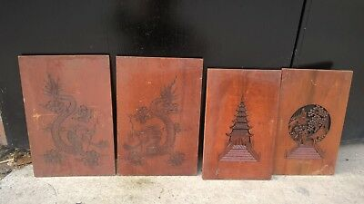 4 Carved wooden Plaques Panels ?