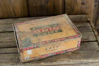 ANTIQUE odin WOOD CIGAR BOX VINTAGE TOBACCO
