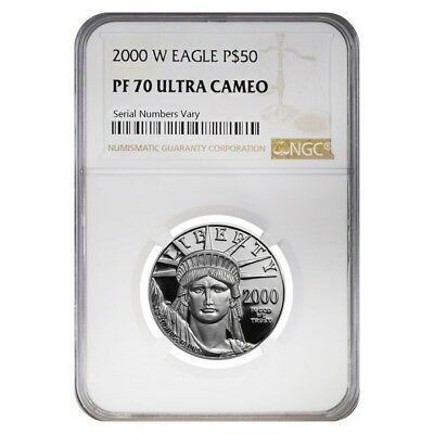 2000 W 1/2 oz $50 Platinum American Eagle Proof Coin NGC PF 70 UCAM
