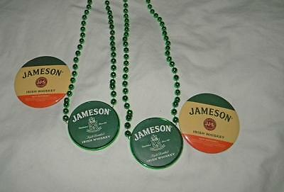 "Euc Lot Of 2 Jameson Irish Whiskey 3"" Buttons Pins &  New Green Beaded Necklaces"