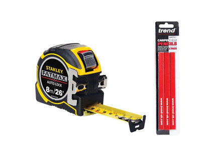 STANLEY XTHT0-33504 Fatmax Autolock Tape Measure - 8m/26ft + 3 Trend Pencils