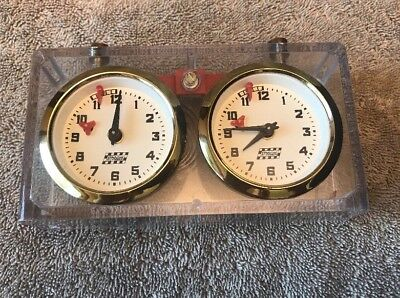 Vintage APFV ROLLAND Mechanical Chess clock in CLEAR Bakelite case. Rare!
