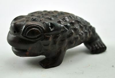Vintage Three Feet Money Toad Wealth Fortune Feng Shui Wood Hand Carved BOXWOOD