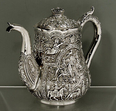 """Indian Silver Teapot        c1890      """"ROYAL HUNTING SCENES""""      SIGNED"""