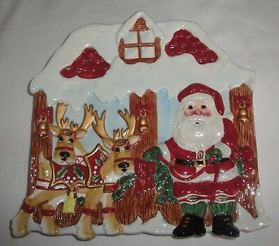 Fitz and Floyd Deer Santa Canape Plate - Boxed