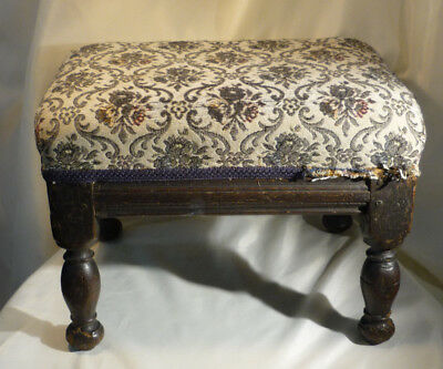 Antique English Country Rustic Oak Wood Footstool 17th Century Handmade Adjusted