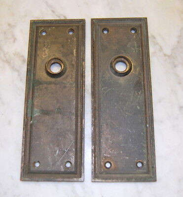 Original Antique Cast Brass Door Backplates, Vintage Door Hardware
