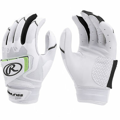 Rawlings Workhorse Pro Women's Fastpitch Softball Batting Gloves, White/Black, L
