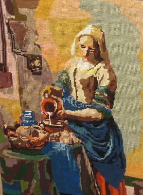 "VINTAGE, NEVER BEEN FRAMED, VERMEER COMPLETED NEEDLEPOINT DAIRY MAID 18""x14.2"""
