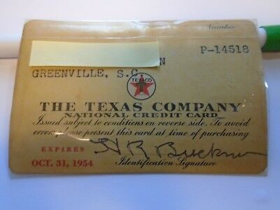 Vintage 1954 Texaco Credit Card Excellent Condition Greenville, South Carolina