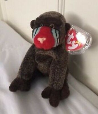Rare Ty 1999 Cheeks Beanie Baby With Tags And Tag Protector
