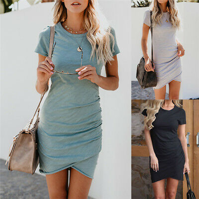 Women's Asymmetric Bodycon Short Sleeve Holiday Ladies Summer Party Mini Dress