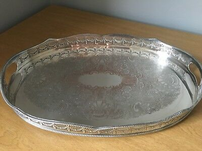 Antique Vintage Silver Plated Large Oval Drinks Tray
