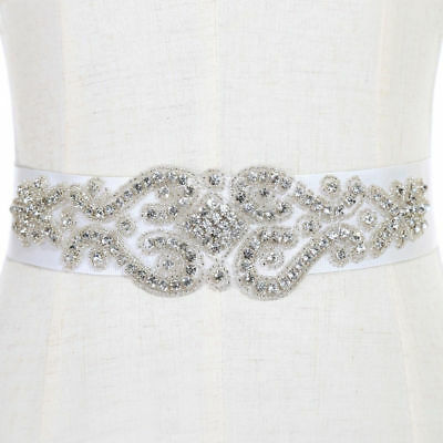 White Bridal Sash Belt Wedding Dress Crystal Rhinestone Waistband Satin Ribbon