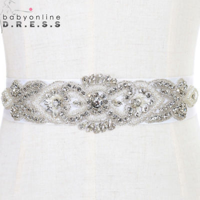 White Bridal Sash Waist Belt For Wedding Dress Rhinestone Crystal Satin Ribbon