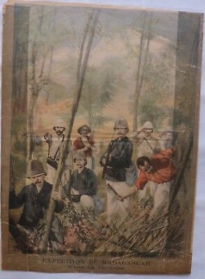 Antique print petit journal french expedition de Madagascar