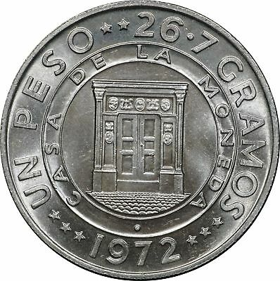 1972 Dominican Republic Silver Un Peso, KM# 34, BU 1P Brilliant Uncirculated