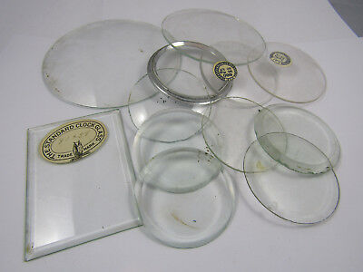 Vintage Clockmakers Repairers Job Lot Various Clock Glass Glasses Faces Bevelled