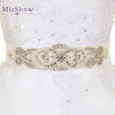Ivory Rhinestone Bridal Sash Wedding Dress Belt Crystal Waistband Satin Ribbon