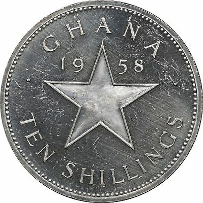 1958 Ghana Sterling Silver 10 Shillings, KM# 7, 28.8 mm XF Proof, Extremely Fine