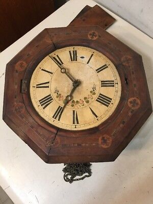 Antique Black Forest Wag On Wall Or Postal Style Clock Parts Restoration