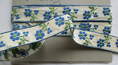 Vintage Cotton Embroid. Trim Small Florals Blue Green Country Look French