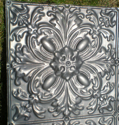 Rare Antique Victorian Ceiling Tin Tile Gothic Quatrefoil Flower Shabby Chic