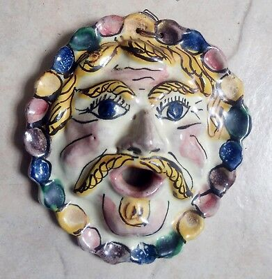 OLD ANTIQUE FOUNTAIN SPOUT FACE ITALIAN POTTERY Majolica Ceramic Renaissance WoW