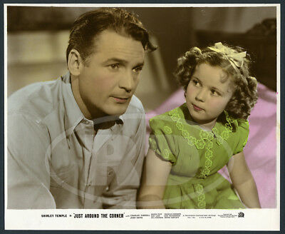 1938 Original Color-Glos Lobby Photo - Shirley Temple & Charles Farrell Corner
