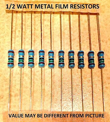 10 pcs 1/2 watt 1% metal film resistors VARIOUS VALUES YOU CHOOSE