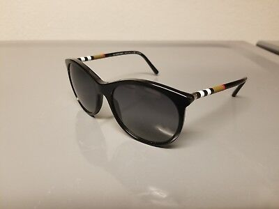 Burberry B 4145 3001/T3 Womens Sunglasses Black Round Genuine Authentic