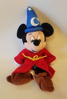 "Walt Disney World Exclusive 10"" Mickey Mouse Fantasia Sorcerer Plush New w/ Tags"