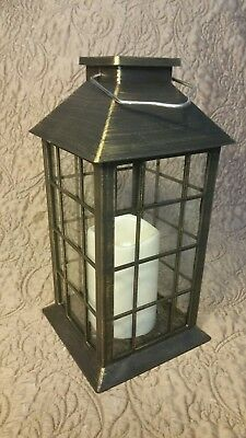 New Indoor/Outdoor Solar Lantern Hanging LED Garden Lamp w/faux Candle