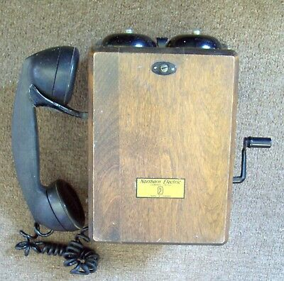 Antique Northern Electric Wall Telephone  Made in Canada  Hand Crank